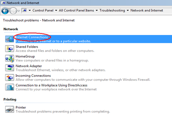 how to solve internet connection problem in windows 7