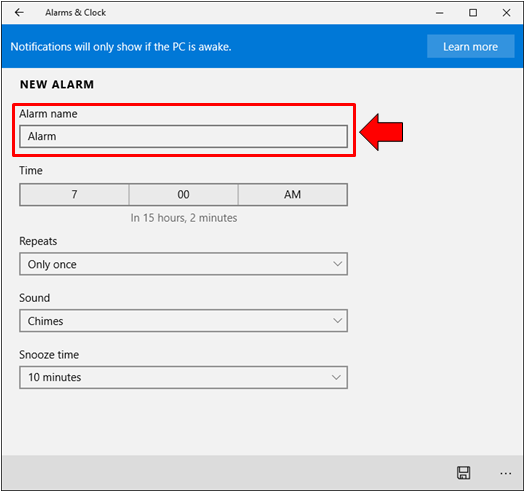 alarm windows 10